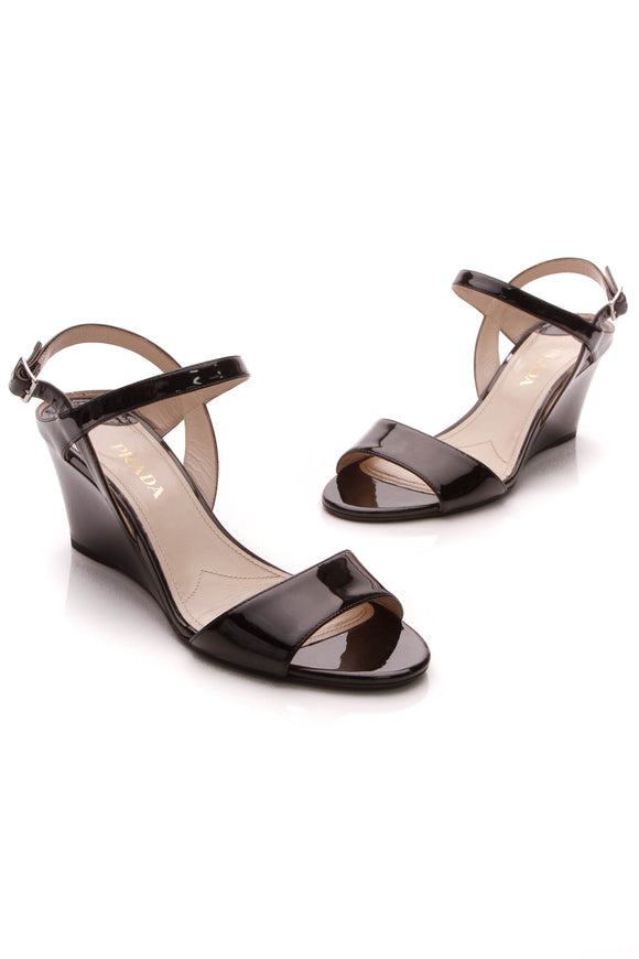 Prada Wedge Sandals Black Patent Size 39.5