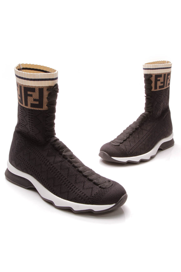 Fendi Rockoko High-Top Sock Sneakers Black Size 39