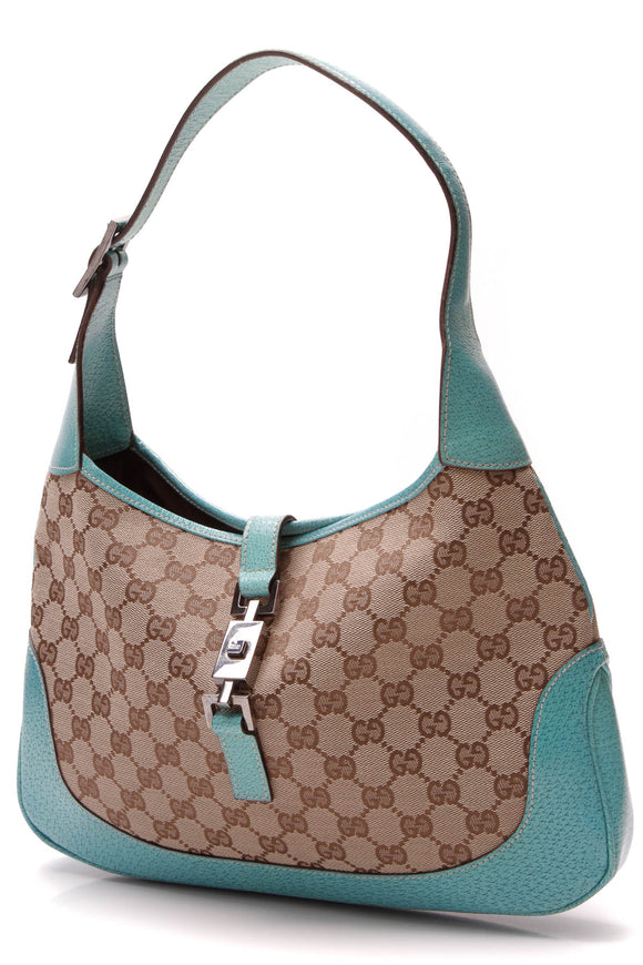 Gucci Jackie Hobo Bag Signature Canvas Beige Teal