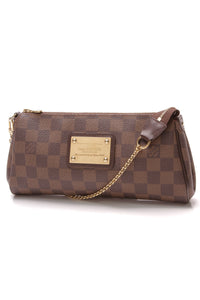 Louis Vuitton Eva Clutch Bag Damier Ebene Brown