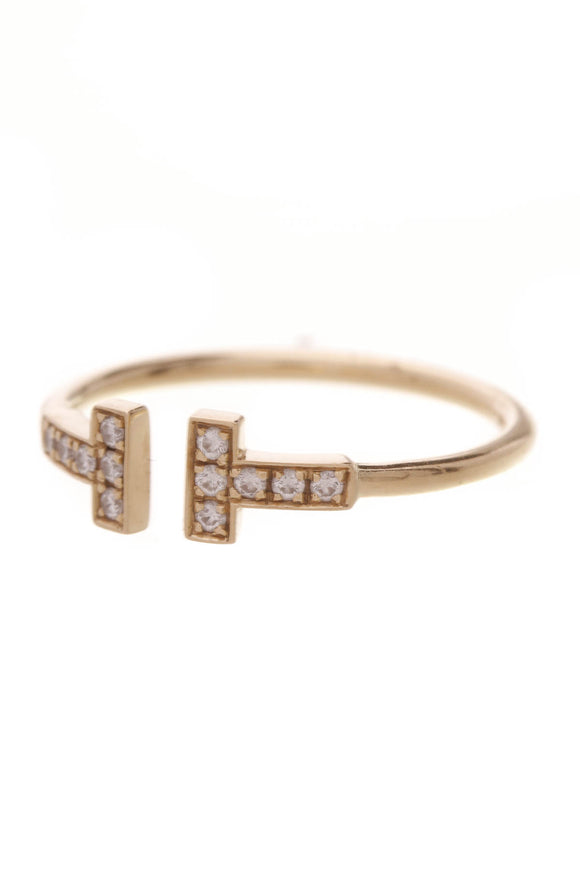 Tiffany & Co. Diamond Tiffany T Wire Ring Yellow Gold Size 9.5