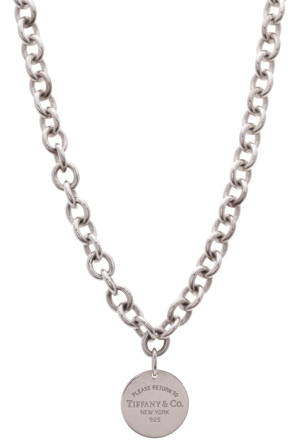 Tiffany & Co. RTT Return to Tiffany Round Tag Necklace Silver
