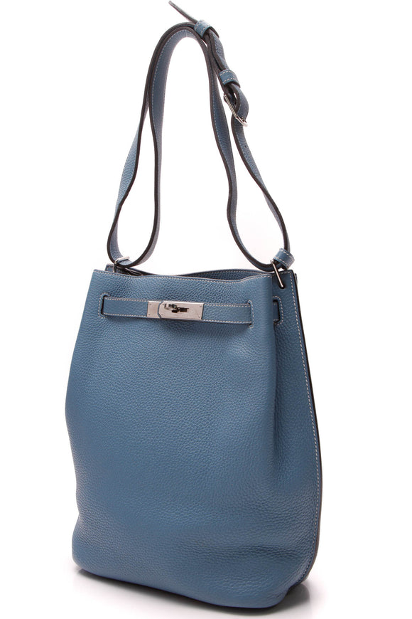 Hermes So Kelly 22 Bag Blue Jean Togo
