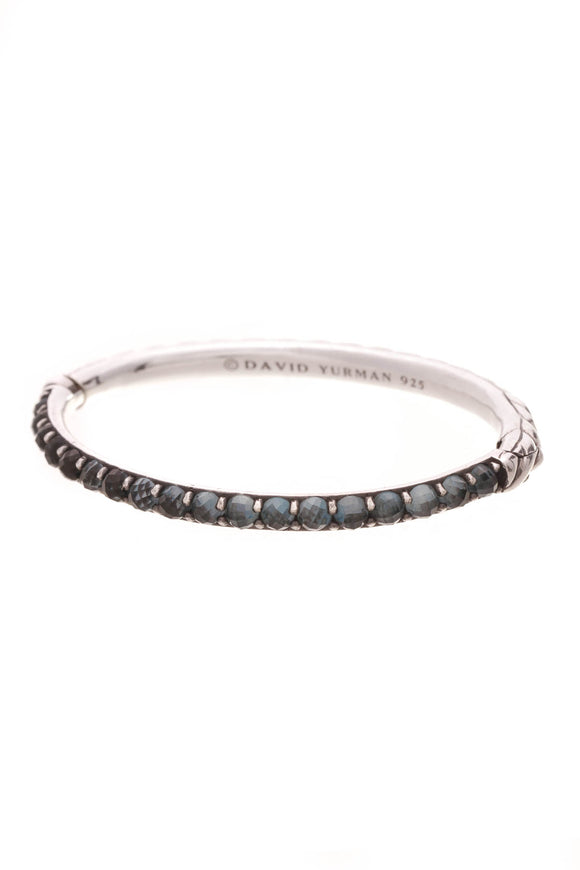 David Yurman London Blue Topaz Hinged Bracelet Silver