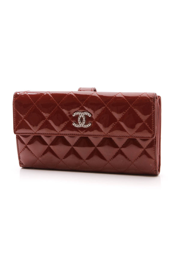 Chanel Quilted Brilliant Wallet Red Patent