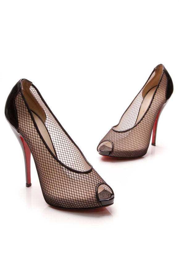 Christian Louboutin Fetilo Peep-Toe Stiletto Pumps Black Size 38.5