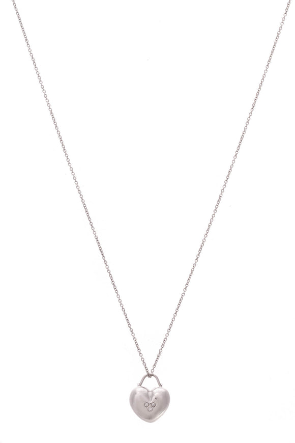 Tiffany & Co. 3 Diamond Heart Pendant Necklace White Gold
