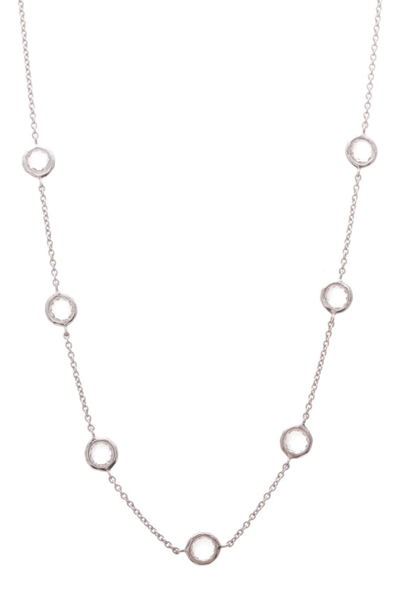 Ippolita Rock Candy Clear Quartz 7 Station Necklace Silver