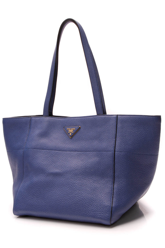 Prada Vitello Daino Square Tote Bag Royal Blue