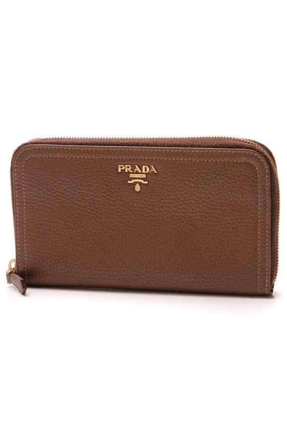 Prada Zip Around Wallet Brown