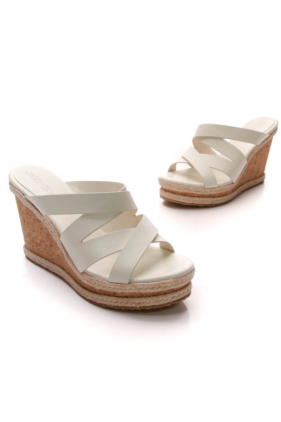Jimmy Choo Strappy Cork Wedge Sandals White Size 39.5