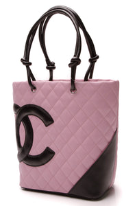 Chanel Cambon Ligne Small Tote Bag Pink Black