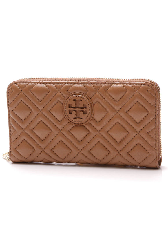 Tory Burch Marion Quilted Continental Wallet Tiger's Eye Brown
