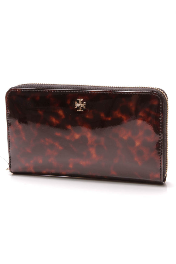 Tory Burch Robinson Continental Zip Wallet Tortoise Patent