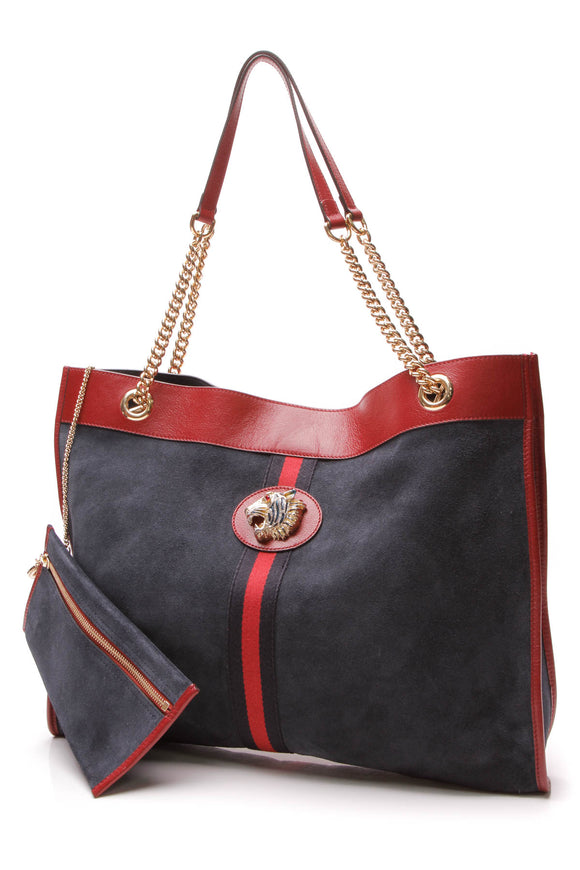 Gucci Rajah Large Tote Bag Navy Red