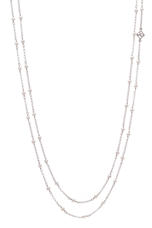 David Yurman Pearl Long Toggle Necklace Silver