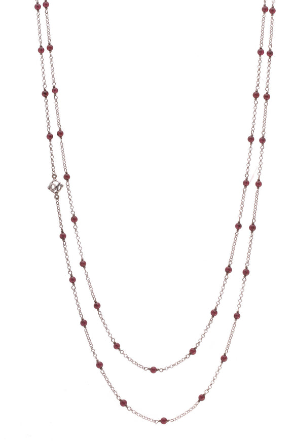 David Yurman Garnet Long Toggle Necklace Silver