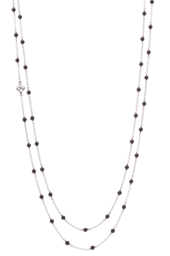 David Yurman Black Onyx Long Toggle Necklace Silver