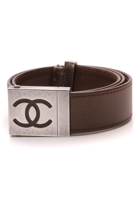 Chanel Vintage CC Buckle Belt Brown Size 28