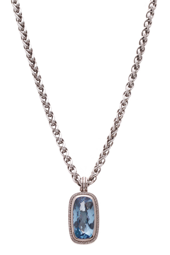 David Yurman Diamond & Blue Topaz Albion Pendant Necklace Silver