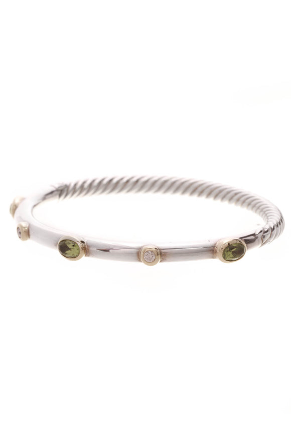 David Yurman Peridot & Diamond Renaissance Hinged Bracelet Silver Gold