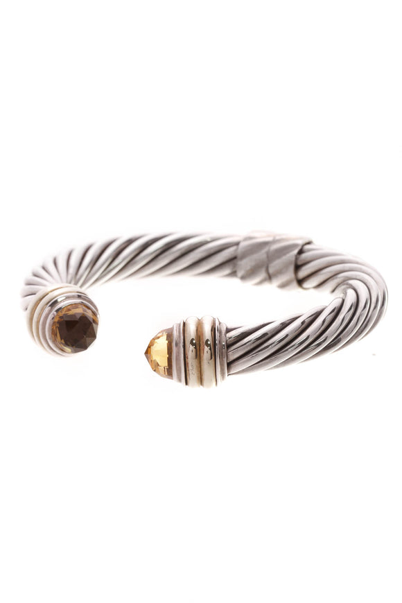 David Yurman 10mm Citrine Cable Hinge Bracelet Silver Gold