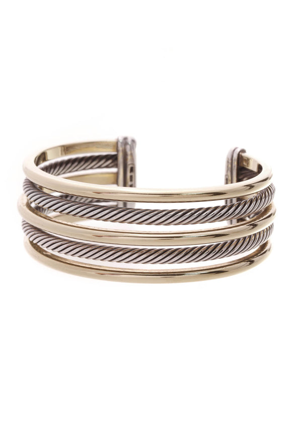 David Yurman 5 Row Cuff Bracelet Silver Gold