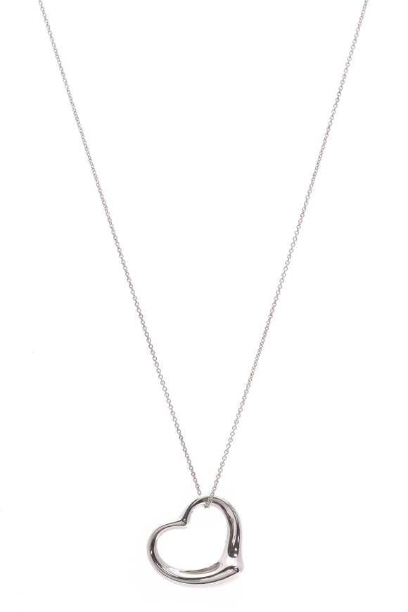 Tiffany & Co Elsa Peretti Open Heart Long Necklace Silver