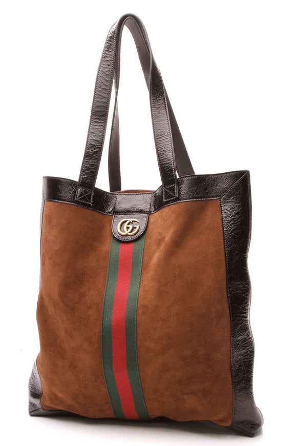 Gucci Ophidia Large Tote Bag Chestnut Brown Black