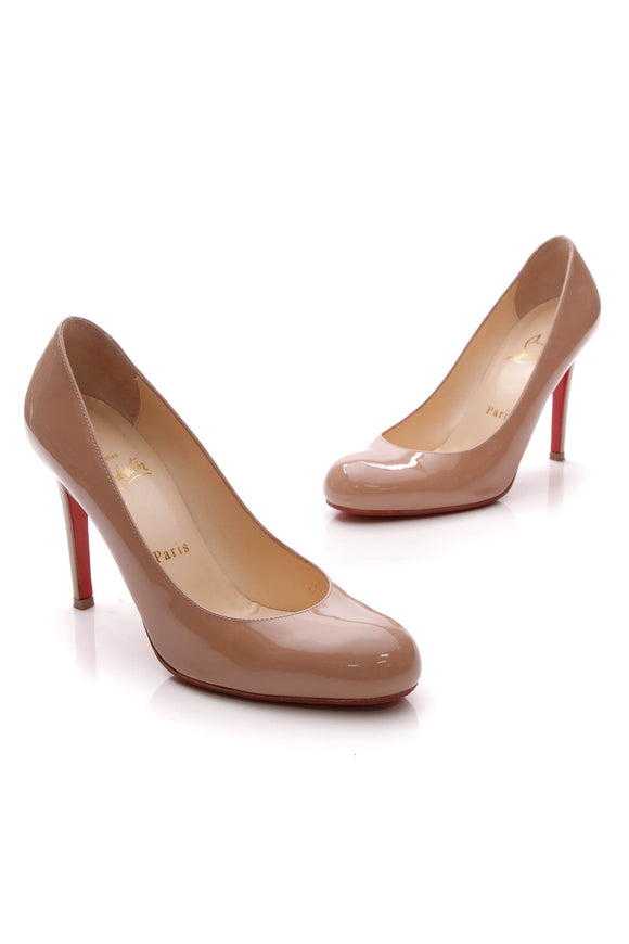 Christian Louboutin Simple 100 Pumps Nude Patent Size 37