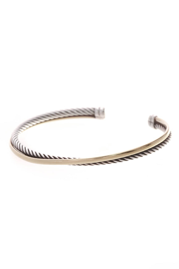 David Yurman 3mm Crossover Cuff Bracelet Silver Gold