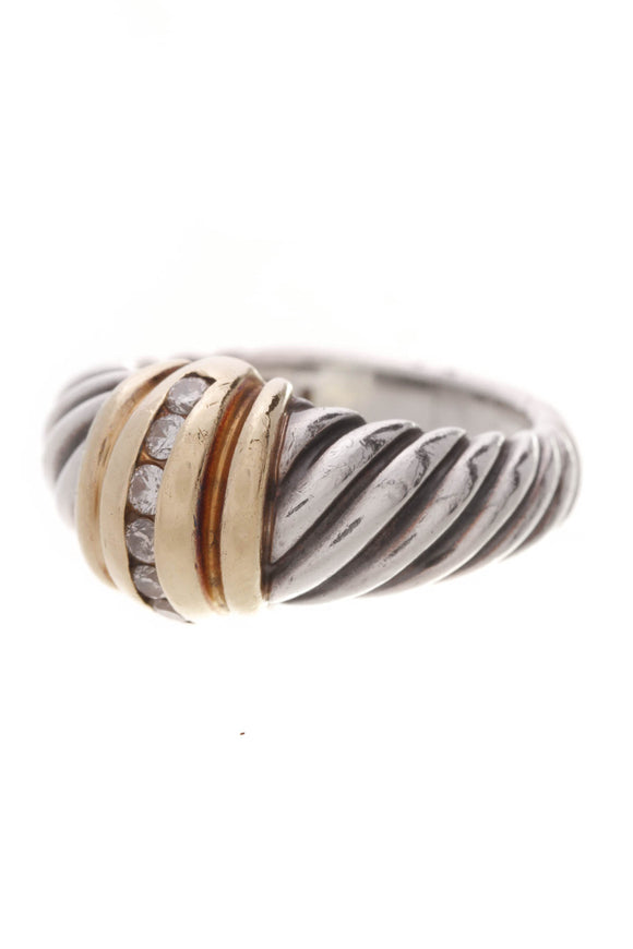 David Yurman Diamond Cable Band Ring Silver Gold Size 5.5