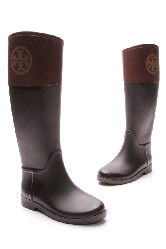 Tory Burch Classic Rain Boots Black Brown Size 5