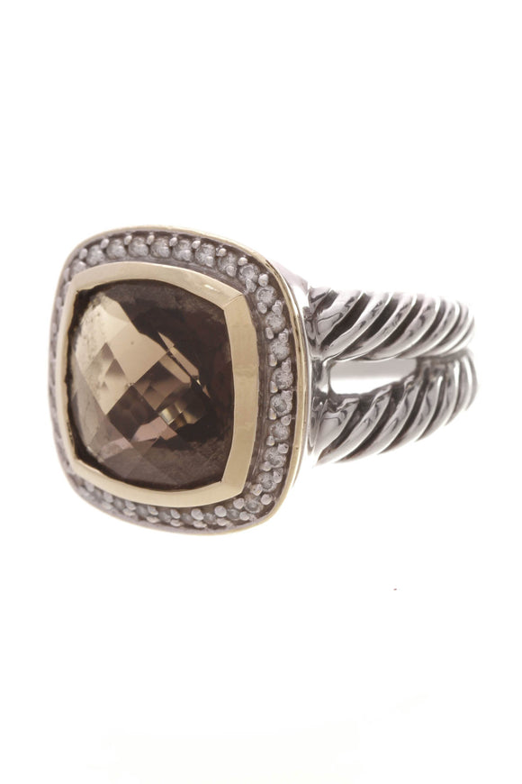 David Yurman Diamond & Smoky Quartz 11mm Albion Ring Silver Gold Size 6