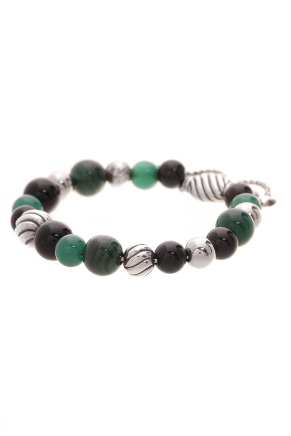 David Yurman Elements Beaded Bracelet Silver Green