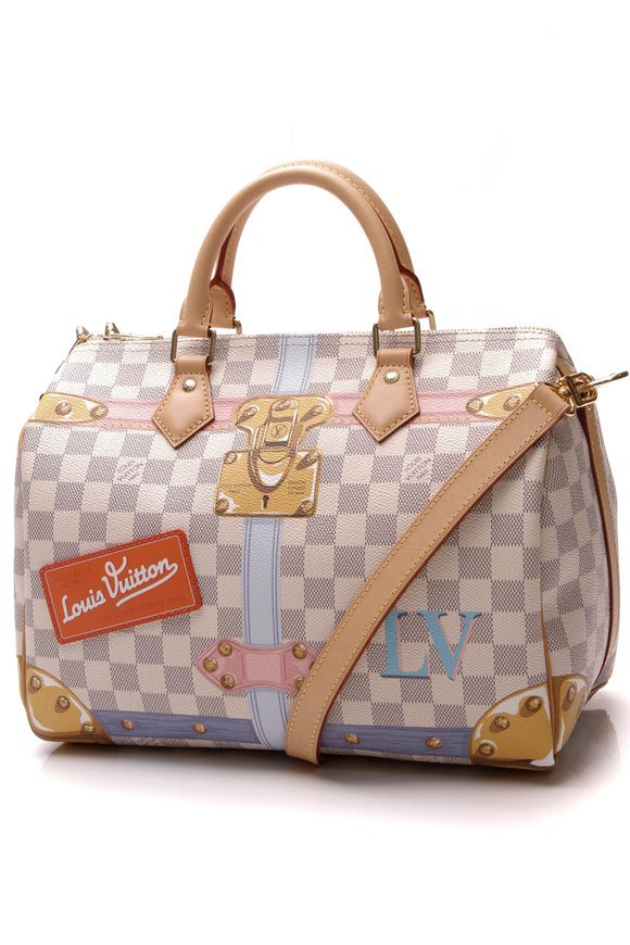 Louis Vuitton Summer Trunks Speedy Bandouliere 30 Bag Damier Azur
