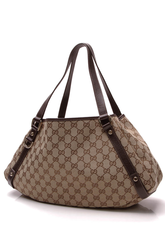 Gucci Abbey Medium Tote Bag Signature Canvas Brown