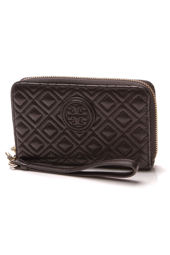 Tory Burch Quilted Marion Wristlet Wallet Black