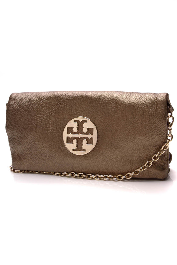 Tory Burch Reva Logo Fold Over Crossbody Bag Bronze