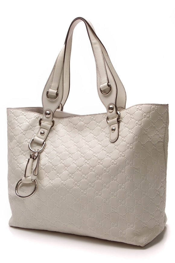 Gucci Icon Bit Medium Tote Bag White Guccissima