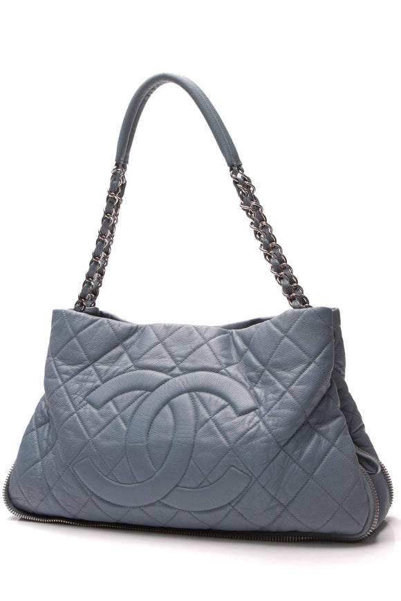 Chanel Timeless Expandable Shoulder Bag Blue Caviar
