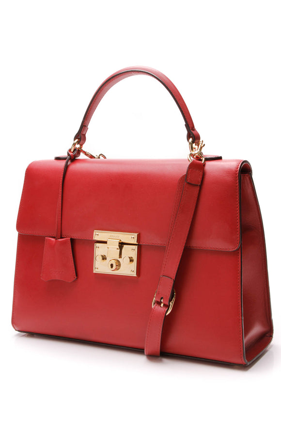 Gucci Padlock Medium Top Handle Bag Red