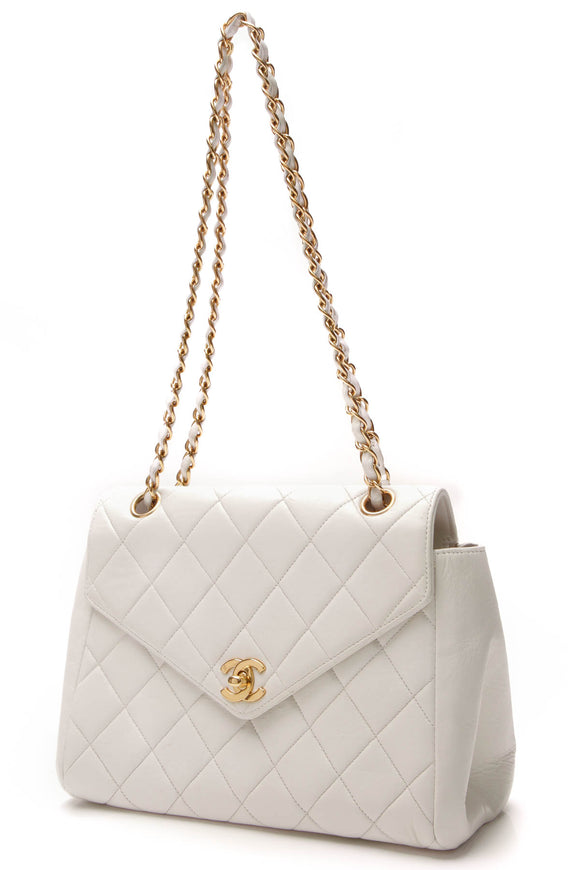 Chanel Vintage Quilted Envelope Flap Bag White