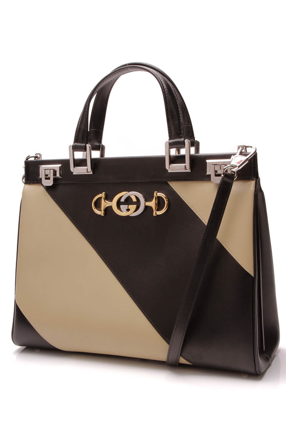 Gucci Diagonal Striped Medium Zumi Bag Black Beige