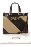 Chanel Diagonal Striped Small Zumi Bag Black Beige
