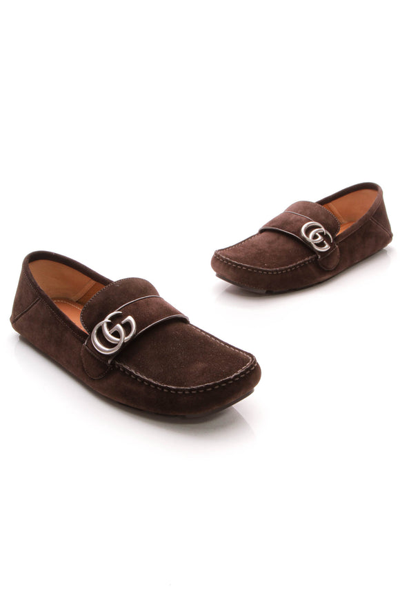 Gucci Queen Men's Driver Loafers Cocoa US Size 8.5 Brown
