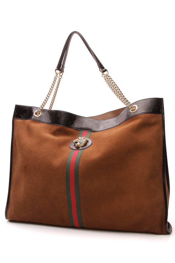 Gucci Rajah Maxi Tote Bag Brown Black