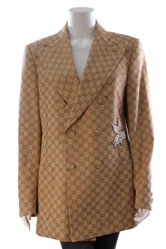 Gucci Pig Applique Men's Blazer Brick Size 52 Brown