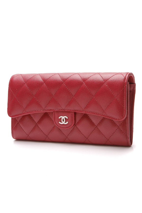 Chanel Quilted Classic Flap Wallet Dark Pink Caviar