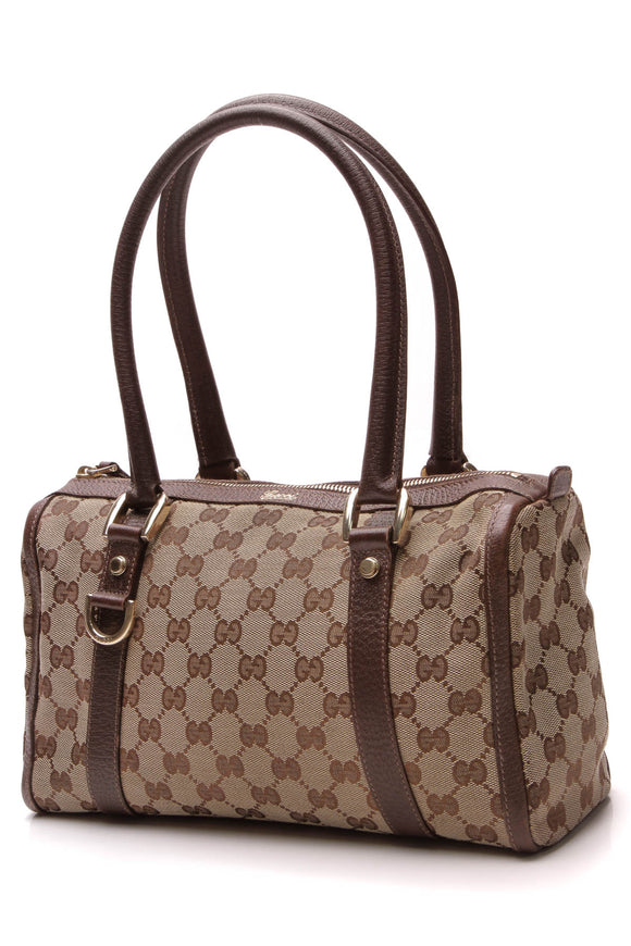 Gucci Abbey Boston Bag Signature Canvas Brown